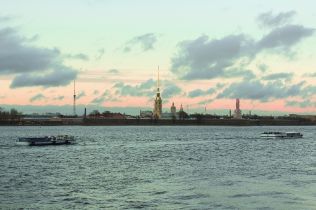 Peter and Paul fortress and Neva river in Saint-Petersburg  October photo
