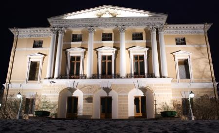 palacio ruso: Iluminaci�n de la noche Pavlovsky Palace en enero 2014