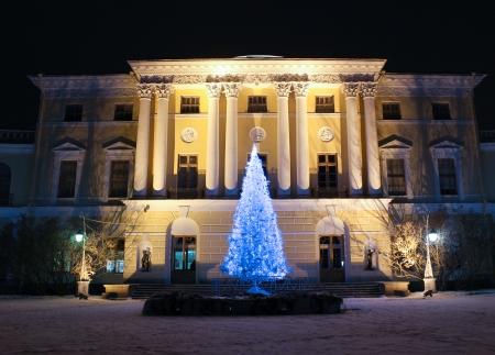 palacio ruso: Palacio Pavlovsky y �rbol de navidad en la noche de enero de 2014, Pavlovsk, Rusia Editorial