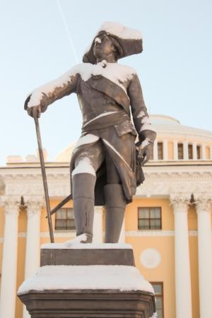 palacio ruso: Ver con el Palacio Pavlovsky y Monumento a Pavel En primer lugar en enero de 2014 en San Petersburgo Editorial