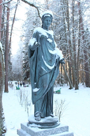 muse: Statue of Muse Flore in Pavlovsk Park on January 2014
