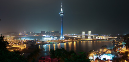 Panorama of Night Macao with Macao Tower and Sai Van Bridge on April 2014