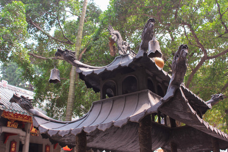 candleholders: The roof is with dragons  View of Lin Fung Temple on April 2014