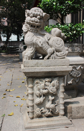 candleholders: Chinese guardian lion  View of Lin Fung Temple on April 2014