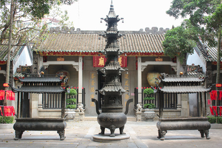 candleholders: View with Lin Fung Temple.  Temple of Lotus   Editorial