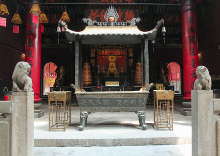 candleholders: Ling Fung Temple  Temple of Lotus  in Macau Editorial