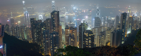 Panorama of Hong Kong and Kowloon from Victoria Gap, near the top of Victoria Peak on April 2014