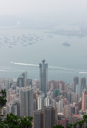 The view of Western Hong Kong and Victoria Harbour from Victoria Gap, near the top of Victoria Peak on April 2014 in Hong Kong