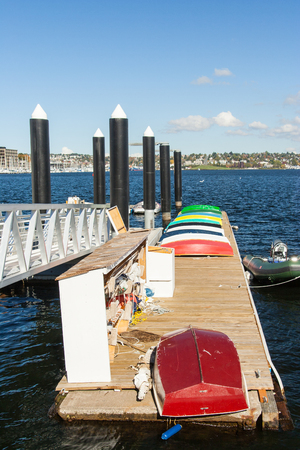 rowboats: Colorful rowboats on a dock