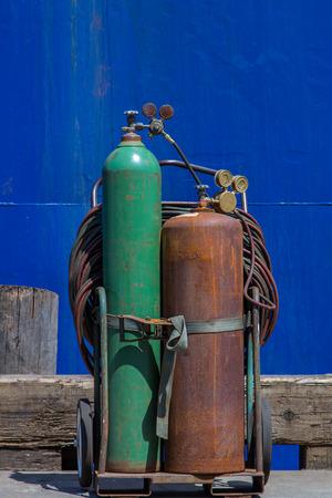 Acetylene tanks on a dock