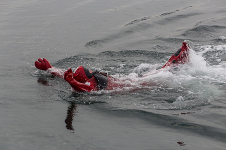 immersion: Swimming in an immersion suit