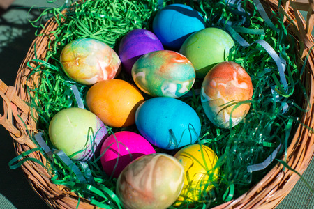 Multi-colored Easter eggs