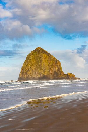 Haystack Rock in the morning sun