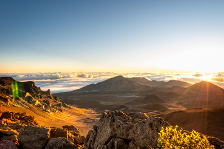 Sunrise over Haleakala volcano crater on Maui, Hawaii