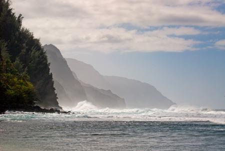 Waves crashing on Na Pali Coast Beach Stock Photo