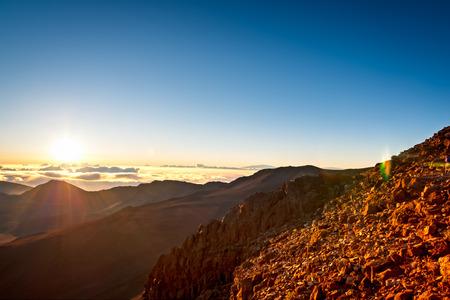 Sunrise over Haleakala volcano crater on Maui, Hawaii