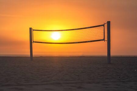 Beach Volleyball Court at Sunset