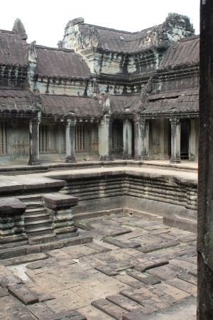 croft: The inner stone courtyard on the upper level of Angkor Wat in Siem Reap, Cambodia