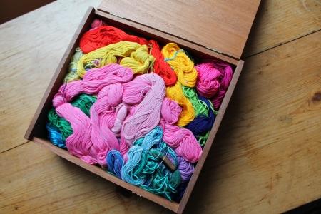 Boîte en bois remplie avec des écheveaux de soie de broderie colorée. Banque d'images - 20685418