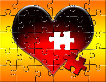 art piece: Heart puzzle on a red and yellow gradient background with a piece missing.