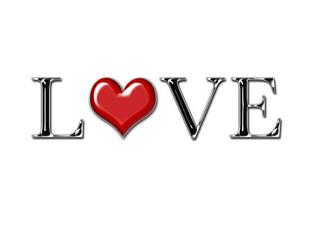 dignified: The word LOVE spelled out in metallic letters with a heart for an O on a white background. Stock Photo