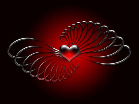 twists: Red beveled heart with metallic twists on a black background. Stock Photo