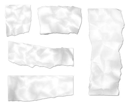 Ripped wrinkled paper images isolated on a white background.