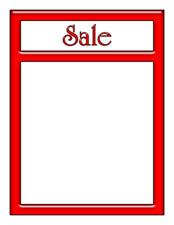 Sale Sign in Red Neon with White Area for Text or Image