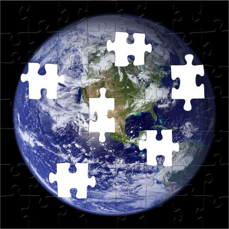 confusing: Earth Puzzle with Pieces Missing (Nasa Photo)
