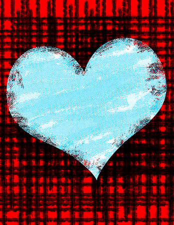 Blue heart on a red and black background. Banco de Imagens