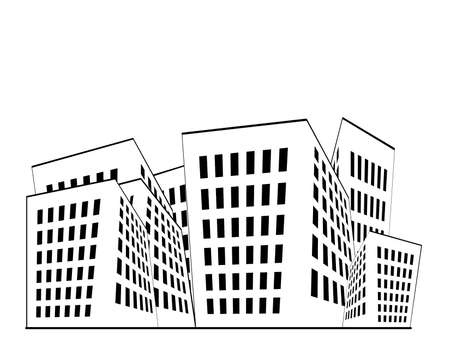 Building illustration in black and white with white space above.