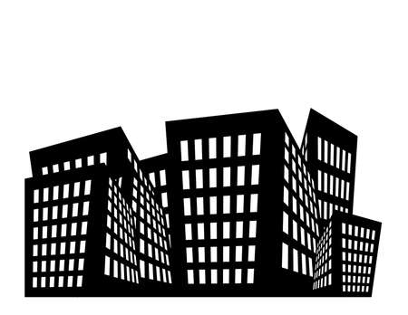 black: Illustration of black and white buildings with white space above.