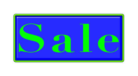 markdown: Sale sign - blue background with green neon outline.