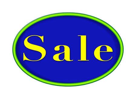 緑のネオン輪郭の販売サイン - 青い背景。 写真素材