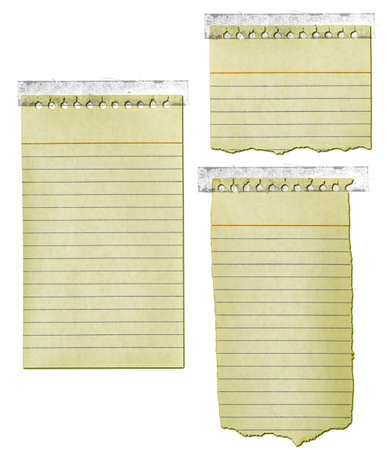 yellowed: Old notepad paper ripped and yellowed with tape.
