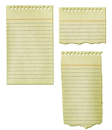 古い紙のメモ帳は黄ばみし、リッピングします。