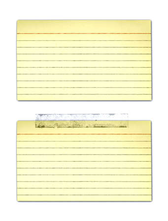 yellowed: Old, yellowed Index cards - with and without tape.