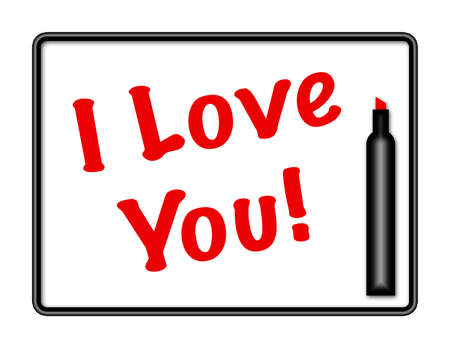 Illustration of a marker board with pen and the words I LOVE YOU