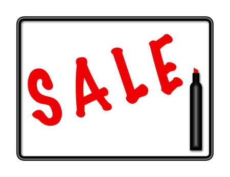 Illustratie van een Markeringsbord met pen en het woord Stockfoto