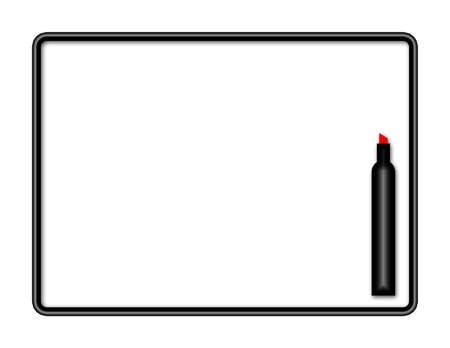 Illustration of a marker board with red marker