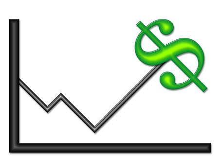 Gráfico con la partida de dinero Símbolo  Foto de archivo - 2781417