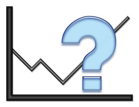 Black shiny graph with blue question mark symbol.