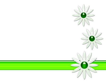 White background with daisies and a stripe.