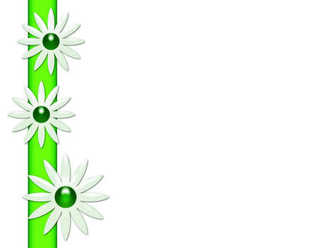 White background with daisies and a stripe.  版權商用圖片