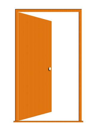 Illustratie van een open houten deur geïsoleerd op een witte achtergrond.