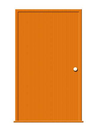 Illustratie van een houten deur geïsoleerd op een witte achtergrond.