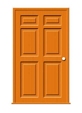 Illustratie van een houten deur met deel vensters geïsoleerd op een witte achtergrond.