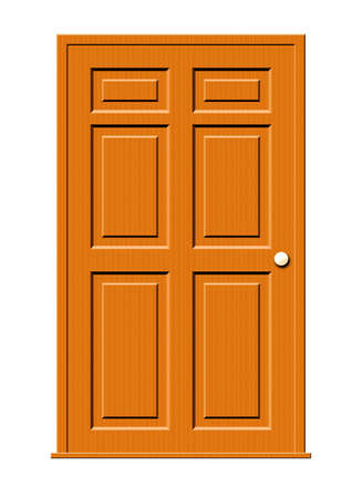 panels: Illustration of a wood door with panels isolated on a white background. Stock Photo