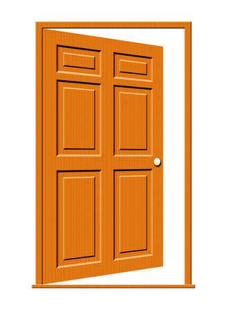 Illustratie van een open houten deur met geïsoleerde panelen op een witte achtergrond. Stockfoto