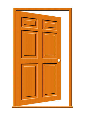 Illustration of an open wood door with panels isolated on a white background.